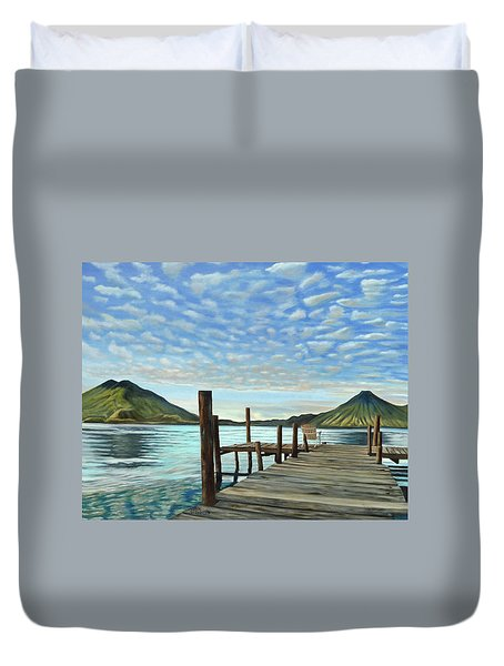 Sunrise At The Water Duvet Cover
