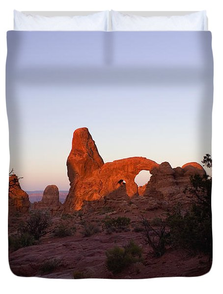 Sunrise At Tower Arch Duvet Cover