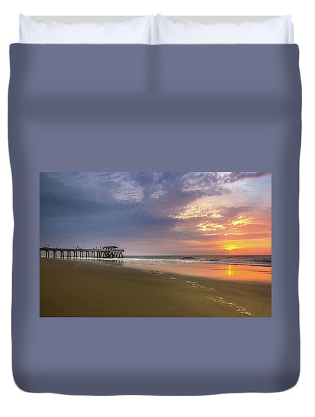Sunrise At Tybee Island Pier Duvet Cover