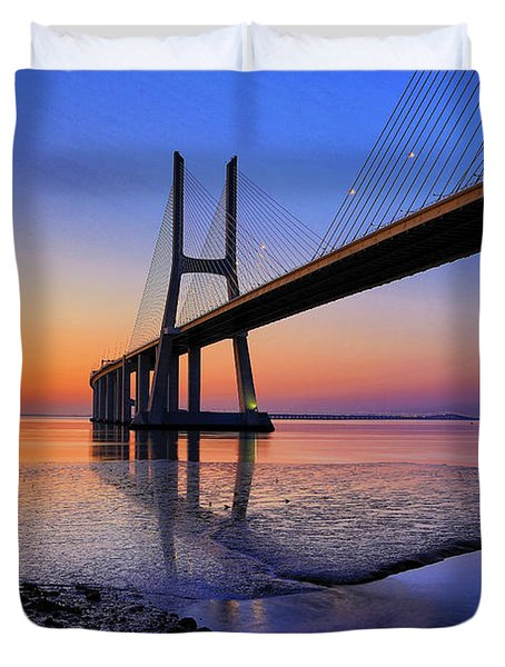 Sunrise At Vasco Da Gama Bridge Duvet Cover
