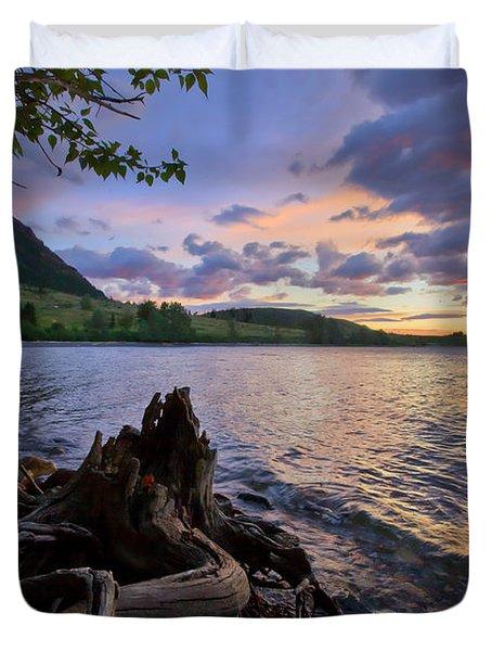 Sunrise At Waterton Lakes Duvet Cover by Dan Jurak