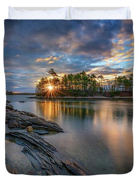 Sunrise At Wolfe's Neck Woods Duvet Cover by Rick Berk