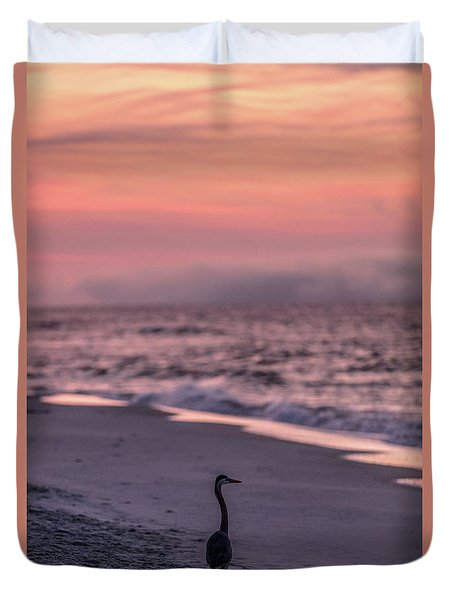 Duvet Cover featuring the photograph Sunrise Beach And Bird by John McGraw