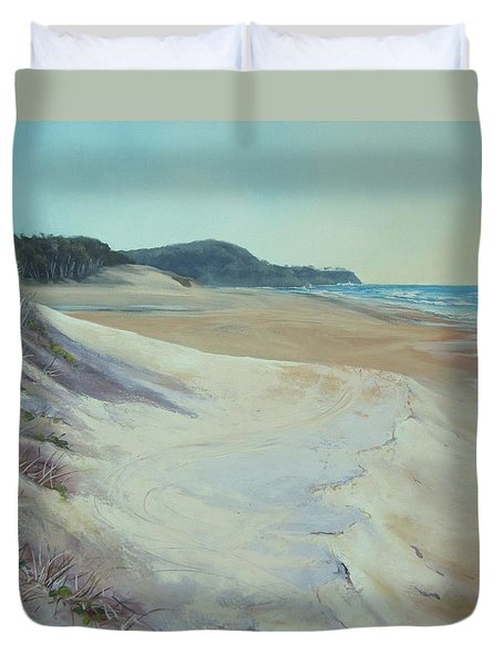 Duvet Cover featuring the painting Sunrise Beach And Lions Head Noosa Heads Queensland by Chris Hobel