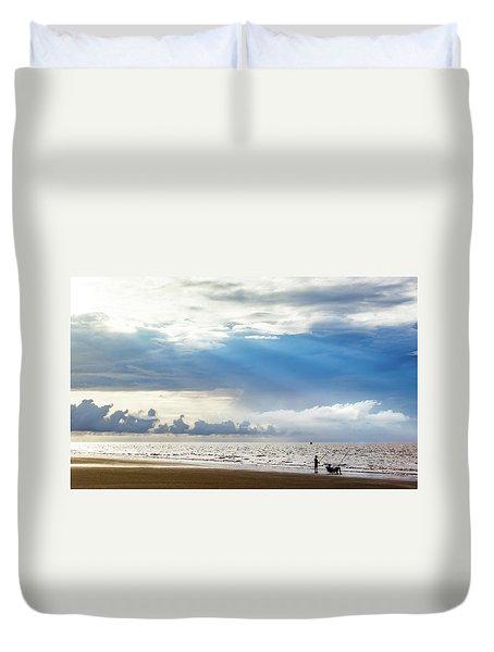 Sunrise Beach Fishing Duvet Cover