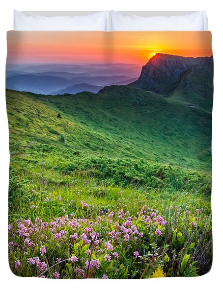 Sunrise Behind Goat Wall Duvet Cover