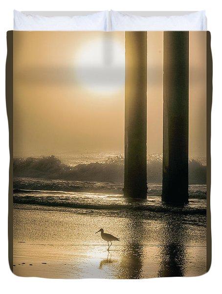 Duvet Cover featuring the photograph Sunrise Bird At Beach  by John McGraw