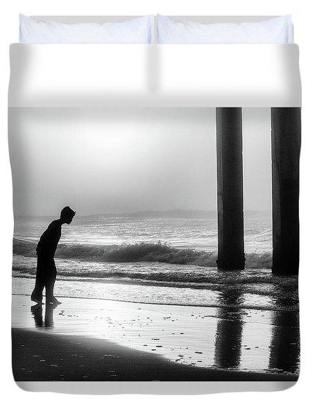 Duvet Cover featuring the photograph Sunrise Boy In Foggy Beach by John McGraw