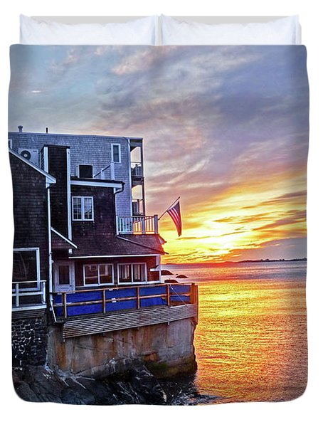 Sunrise By The Barnacle Marblehead Ma Duvet Cover