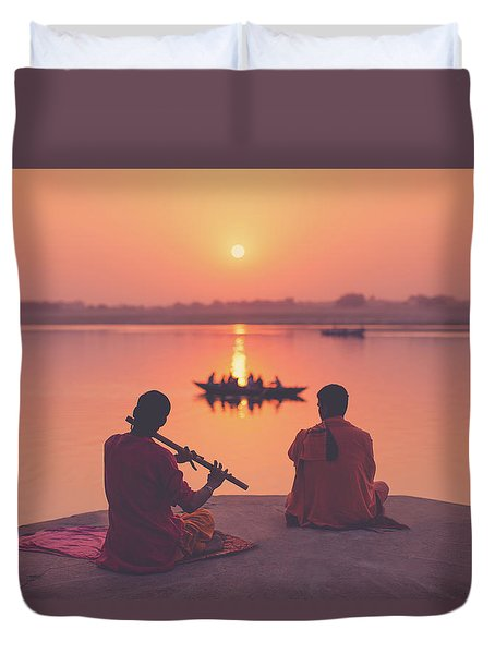 Sunrise By The Ganges Duvet Cover by Marji Lang