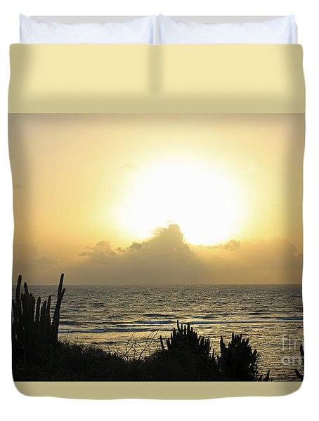 Sunrise Cactus Duvet Cover by Mary Haber