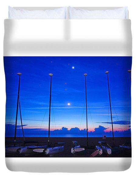 Sunrise Catamarans Moon Planets Duvet Cover