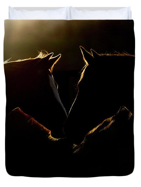 Duvet Cover featuring the digital art Sunrise Companions by Nicole Wilde