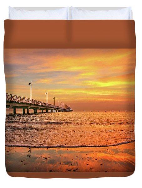 Sunrise Delight On The Beach At Shorncliffe Duvet Cover