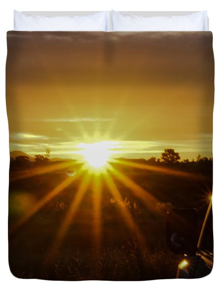 Sunrise And My Ride Duvet Cover