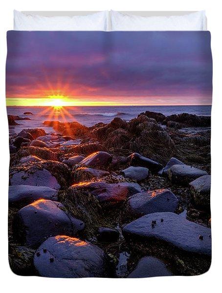 Sunrise Fire On The New Hampshire Coast.  Duvet Cover