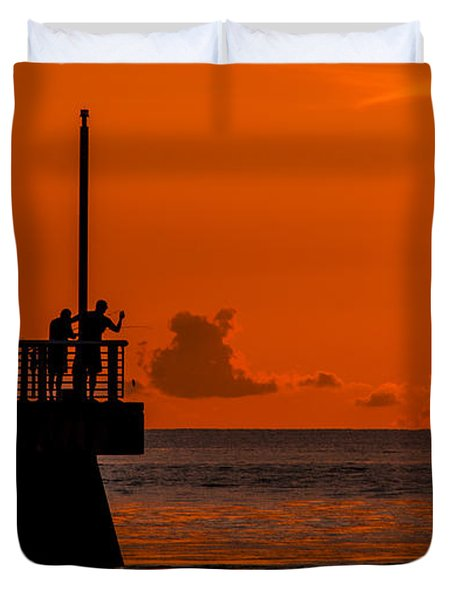 Duvet Cover featuring the photograph Sunrise Fishermen by Don Durfee