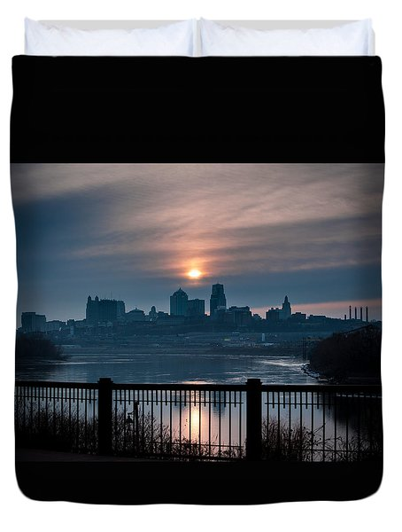 Sunrise From Kaw Point Duvet Cover