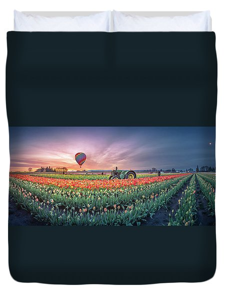 Duvet Cover featuring the photograph Sunrise, Hot Air Balloon And Moon Over The Tulip Field by William Lee