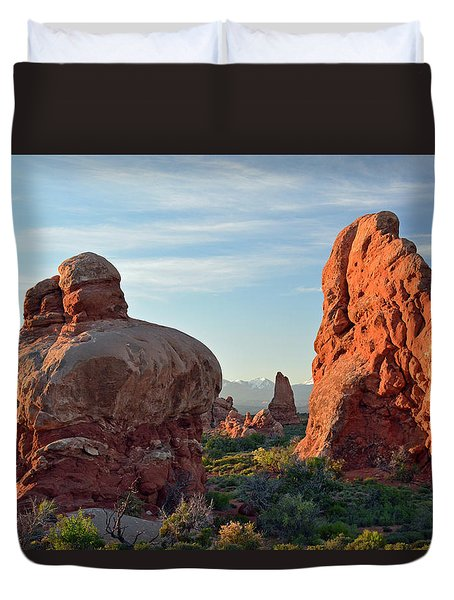 Duvet Cover featuring the photograph Sunrise In Arches National Park by Bruce Gourley