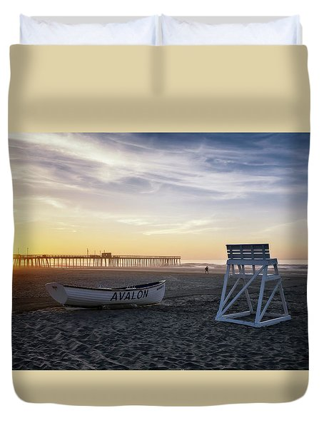 Duvet Cover featuring the photograph Sunrise In Avalon by Eduard Moldoveanu