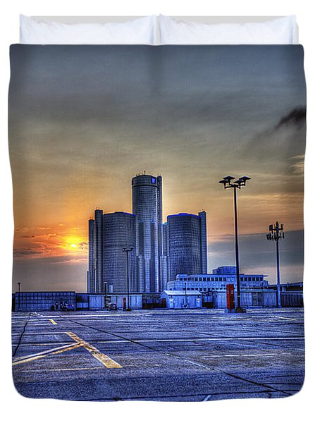 Sunrise In Detroit Mi Duvet Cover by Nicholas  Grunas