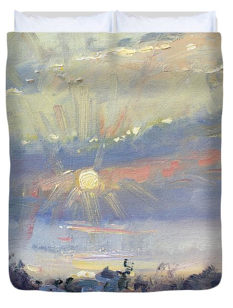 Sunrise In Egey Sea Greece Duvet Cover
