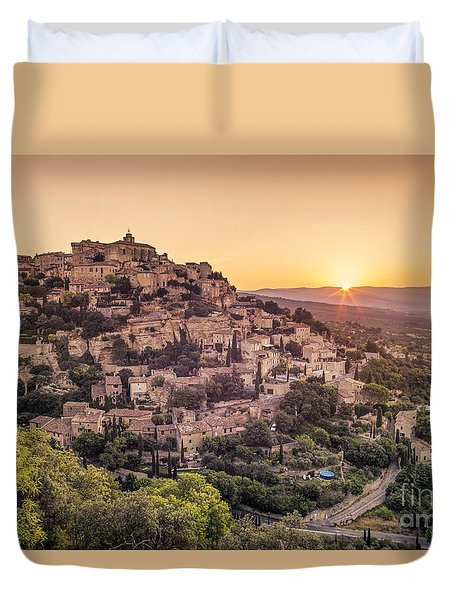 Duvet Cover featuring the photograph Sunrise In Gordes Provence  by Juergen Held