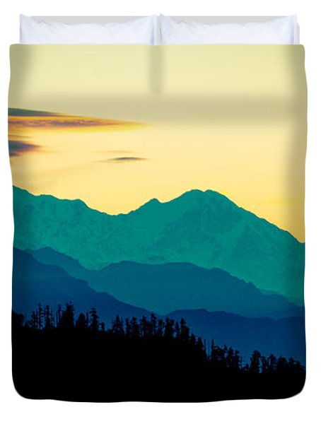 Sunrise In Himalayas Annapurna Yatra Himalayas Mountain Nepal Poon Hill Duvet Cover