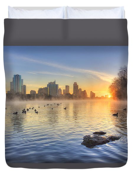 Sunrise In January Over Austin Texas 5 Duvet Cover