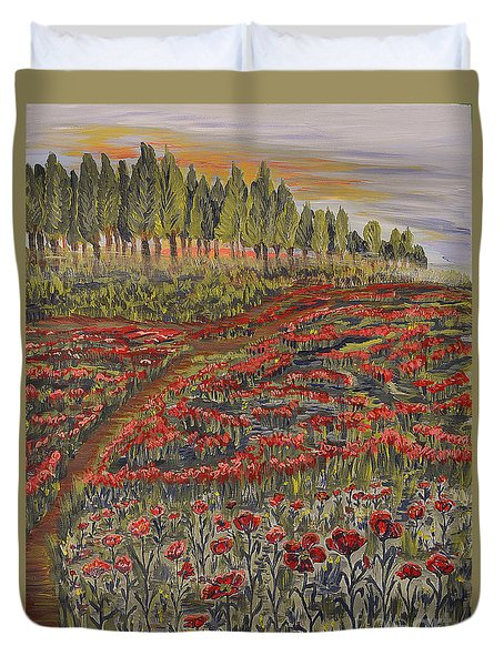 Sunrise In Poppies Field Duvet Cover by Felicia Tica