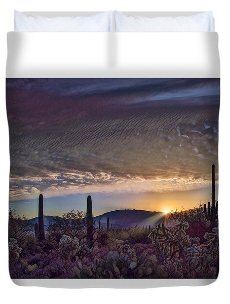 Duvet Cover featuring the photograph Sunrise In Sabino Canyon Remix by Dan McManus