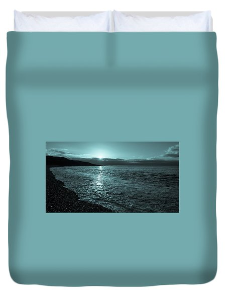Sunrise In Stonehaven B-w Duvet Cover