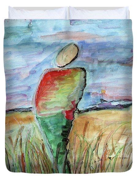 Sunrise In The Grasses Duvet Cover