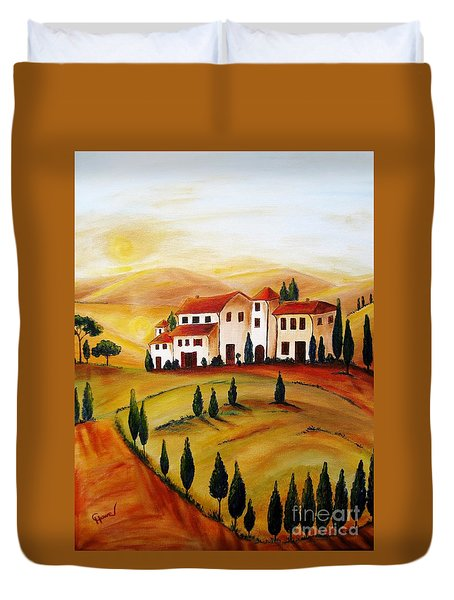 Sunrise In Tuscany Duvet Cover by Christine Huwer