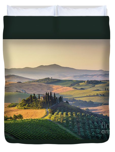 Sunrise In Tuscany Duvet Cover by JR Photography