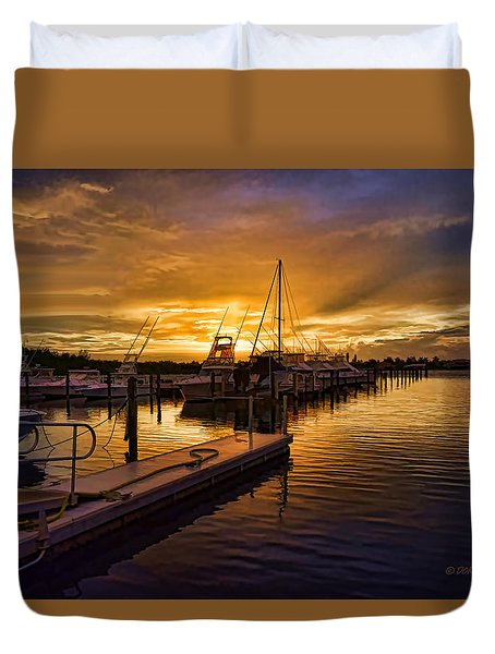 Duvet Cover featuring the photograph Sunrise Marina by Don Durfee