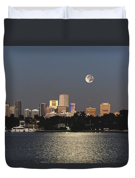 Duvet Cover featuring the photograph Sunrise Moon Over Miami by Gary Dean Mercer Clark