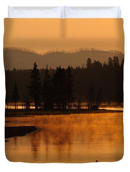 Sunrise Near Fishing Bridge In Yellowstone Duvet Cover by Bruce Gourley