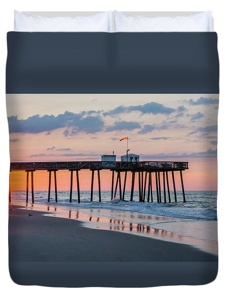 Sunrise Ocean City Fishing Pier Duvet Cover by Photographic Arts And Design Studio
