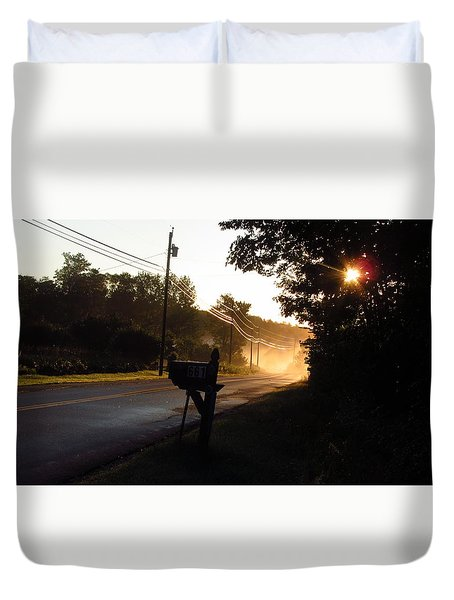 Sunrise On A Country Road Duvet Cover