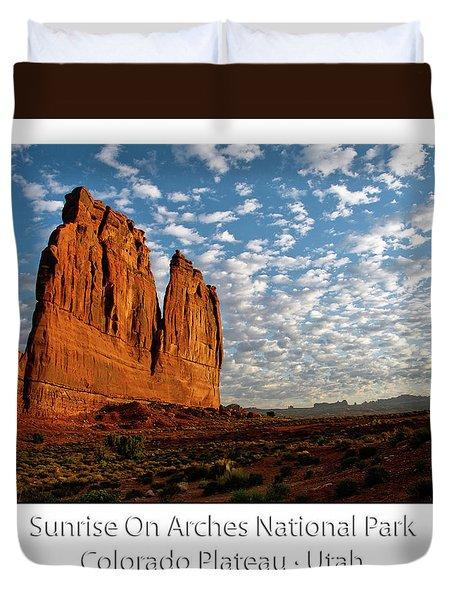 Sunrise On Arches National Park Utah 17 Text Duvet Cover
