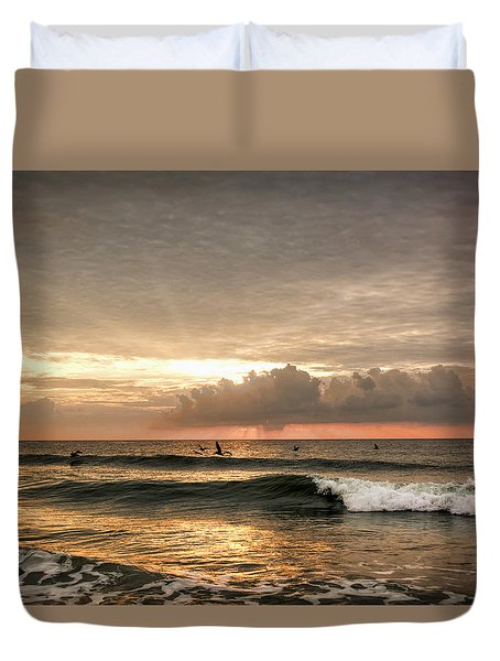 Sunrise On Carolina Beach North Carolina Duvet Cover
