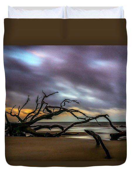 Duvet Cover featuring the photograph Sunrise On Driftwood Beach, Jekyll Island, Ga by Michael Sussman