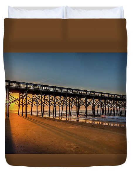 Duvet Cover featuring the photograph Sunrise On Folly Island by Rikk Flohr
