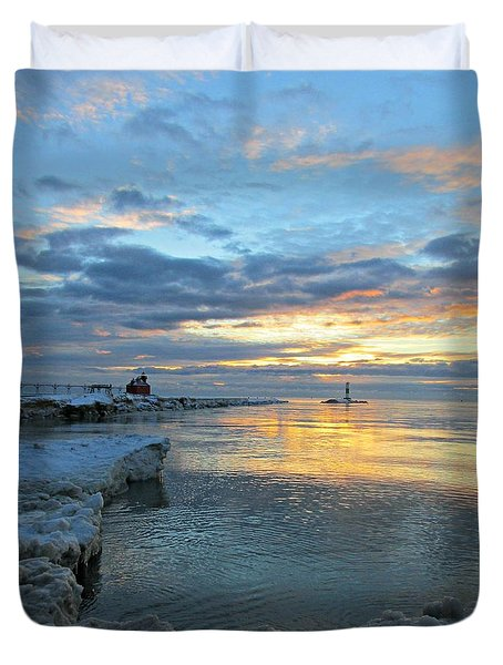 Sunrise On Ice Duvet Cover by Greta Larson Photography