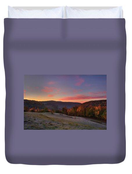 Duvet Cover featuring the photograph Sunrise On Jenne Farm - Vermont Autumn by Joann Vitali