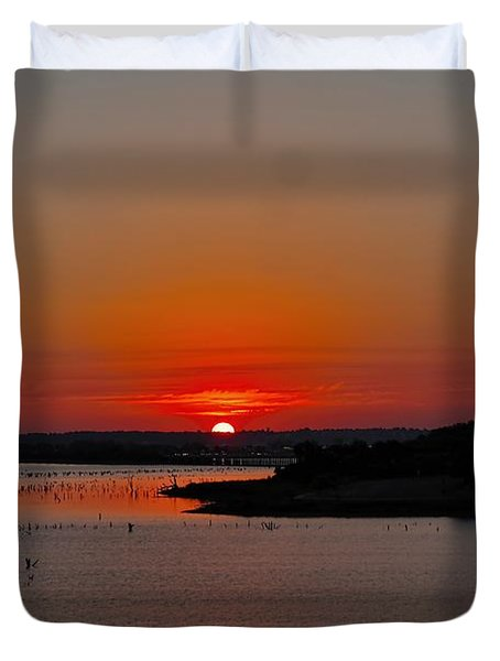 Sunrise On Lake Ray Hubbard Duvet Cover