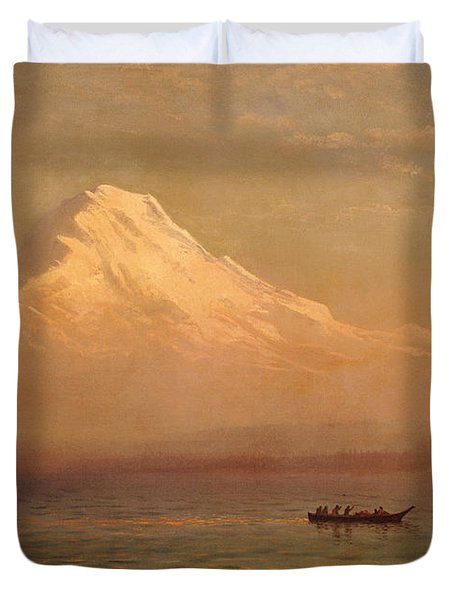 Sunrise On Mount Tacoma  Duvet Cover by Albert Bierstadt