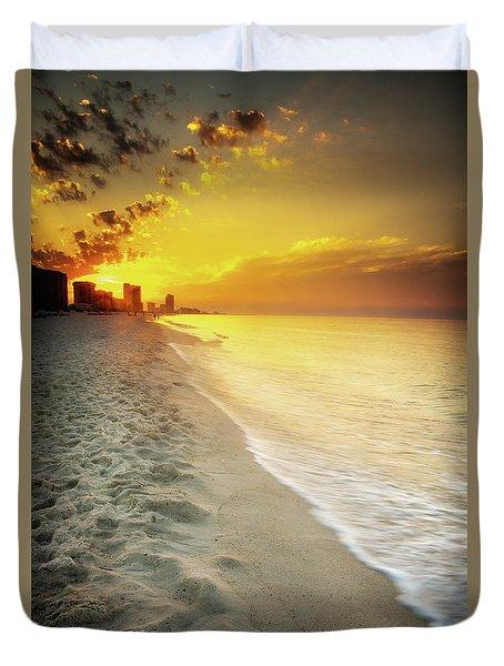 Sunrise On Orange Beach Duvet Cover